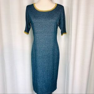 LuLaRoe Carly blue long dress with gold color trim
